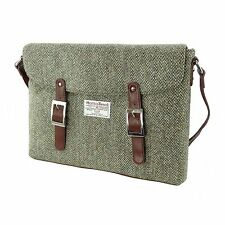 Authentic Harris Tweed Laptop Bag Oatmeal/Green Fleck LB1014 COL 3