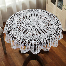 White Cotton 36'' Round Handmade Crochet Lace Table Cloth Doily Doilies N06