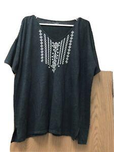 Garnet Hill black tunic top embroidered 100% organic linen, sz XL
