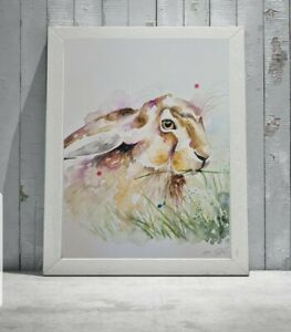 New Elle Smith large original signed watercolour nature ART PAINTING of a Hare