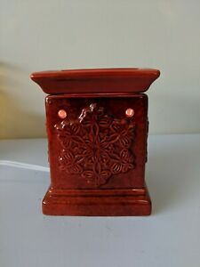 Red Snowflake Ceramic Wax Warmer Melt Table Top Room Fragrance - Electric TESTED
