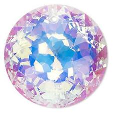 Glass Crystal Pendant Faceted Round Disc AB 45mm PK1 *UK EBAY SHOP*