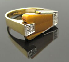 Mid Century 14K Gold Ring Size 7.25 Diamond Tiger Eye Modernist Engagement Bride