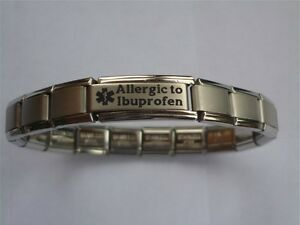 Italian Charms Allergic to Ibuprofen  Medical Alert Bracelet