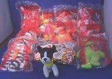 9 McDonalds Beanie Babies Happy Meal Bag Toys NIP + Swing Tags + Hotel Dog