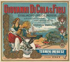 """OLD ORIGINAL 1920 TRAIN """"GIOVANNI DI COLA & FIGLI"""" PASTA BOX LABEL SICILIA ITALY"""
