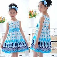 2-7 Year Kids Girls Princess Dress Bow Belt Peacock Sleeveless Party Clothes NEW