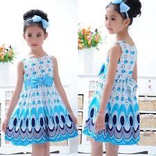 2-7 Year Kids Girls Princess Dress Bow Belt Peacock Sleeveless Party Clothes Light Blue L