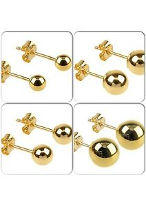 Solid  9ct Gold Plain Ball Stud Earrings In Sizes 3mm - 6mm Gift Boxed