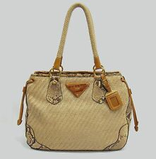Prada Italy Beige Straw/Python Tote Shoulder Bag