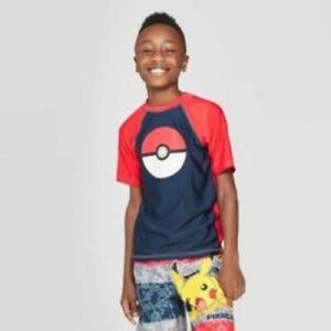 Pokemon Boys Rash Guard Youth Size L Short Sleeve UPF50+ Red Blue Swim Shirt