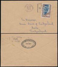 CEYLON 25c SINGLE FRANKING MACHINE SLOGAN PMK to SWITZERLAND TEA + BANK ENV 1953