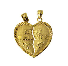 14K Real Yellow Gold Best Friends Heart Split Breakable Broken Charm Pendant