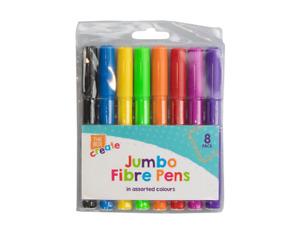8 Jumbo Fibre Colouring Pens - Felt Tip Thick Pen Colours Bright Kids