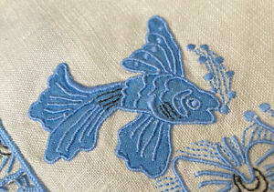 6 Vintage Madeira Marghab Linen Cocktail Napkins Hand Embroidered Koi Fish WW364