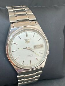 Vintage Seiko 5 White Dial Automatic Watch (Good CONDITION) SERVICED