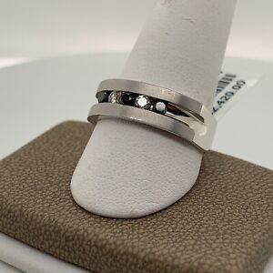14k White Gold Diamond Ring with Black and White Diamonds NEW Size 10 Men's Ring