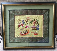 Estate Find CHINESE FRAMED SILK EMBROIDERY PANEL Village Scenes Dragon Boat