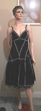 MISS SHOP size 12 black lined cotton summer dress NWOT swirl skirt  (3a)