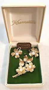 Vintage Signed Krementz Pearl Flower and Leaf Pin and Flower Screw-On Earrings
