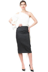 RRP €160 DKNY Linen Midi Pencil Skirt Size 4 / S Unlined Contrast Back