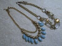 VINTAGE TO NOW MULTI STRAND GLASS & LUCITE BEADED BRONZE TONE CHAIN NECKLACE LOT