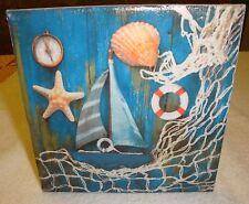 Wandbild-Dekofliese-Maritim,Leuchtturm,Schiff,Seestern,Muscheln,Fischernetz