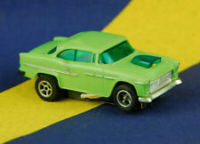 "Vintage Aurora AFX HO Slot Car 55"" Chevy Lime Green White Pipes Chevrolet Gasser"