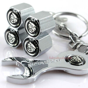 Car Tire Valve Caps Air Valve Dust Covers Wrench Keychain Logo For Jaguar