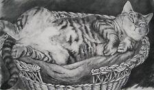 Maxime Juan-Ancienne grande affiche d'art-Le Chat en Majesté- 69,5 cm x 47,5 cm.
