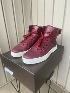 Men's Gucci Burgundy Leather HighTop Sneakers Size 8.5G W/ Box 386738