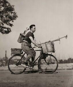 1949 Vintage ROBERT DOISNEAU Mobile Gardener On Bicycle Garden Photo Art 11X14