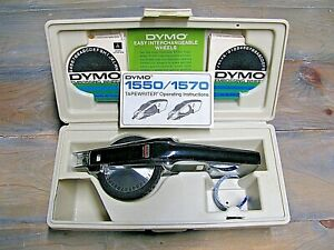 Vintage Dymo 1570 Label Maker  w/ Hard Case, Instructions & 3 Embossing Wheels