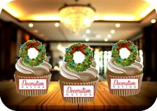 Christmas Wreath 12 Edible STANDUP Cake Toppers Decoration Xmas Festive  Fun