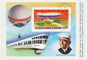 MAURITANIA 1978 ZEPPELIN MS on superb postcard