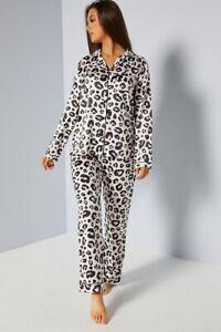 Loungeable Leopard Print Pink Satin Pyjama Ladies Size XL uk 20-22
