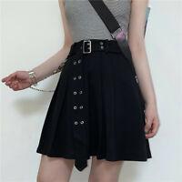 Women Girl Sexy Pleated Skirt Punk Chain Gothic Belt Frill Mini High Waist Black