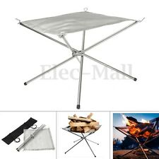 Camping Folding Stove Wood Fire Frame Stand Burning Grill Stainless Steel Mesh