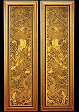 2 Thai Art lacquer Black Gilded Hanuman fight against giant Decor Free shipping
