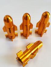 Gold Metal Rocket Shaped Car Bike Van Wheel Tyre Valve  Dust Caps x 4