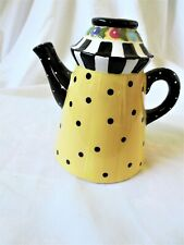 Excellent 1998 Mary Engelbreit Tepot Candle Holder, Yellow W/ Black Dots