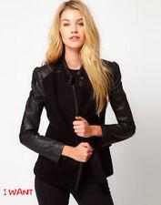 See U Soon Jacket Blazer Leather Look Sleeve Coat S UK8 EU36