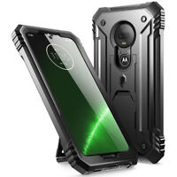 Rugged Kickstand Case For Moto G7,Poetic Dual Layer Shockproof Cover Black