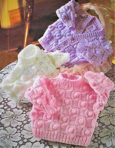 Baby knittiing pattern for cardigans & jumper in dk 16-22''  C12