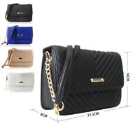 NEW Women's Designer Style Quilted Chain Strap Crossbody Bag Ladies Shoulder Bag