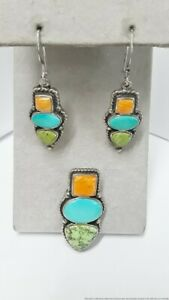 Sterling Silver Spiny Oyster Turquoise Gaspeite Earring Pendant Suite 16.2g