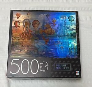 """MB Puzzle Foil Fantasy Panorama 500 Piece Jigsaw Puzzle 24""""x18"""""""