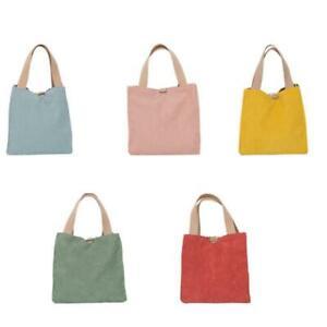 Corduroy Canvas Lunch Bag Solid Color Ribbed Velvet Picnic Storage Tote Handbag