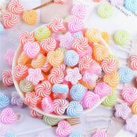 20-pack Mixed Plastic Swirl Candy Sweets Cabochon Charms Slime Flatback 16mm