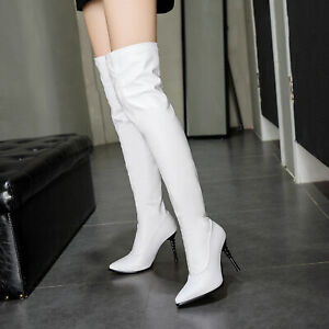 US 2-14 Womens Stilettos High Heels Over Knee Thigh High Boots Pointy Toe Shoes